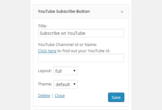 youtube subscribe button widget