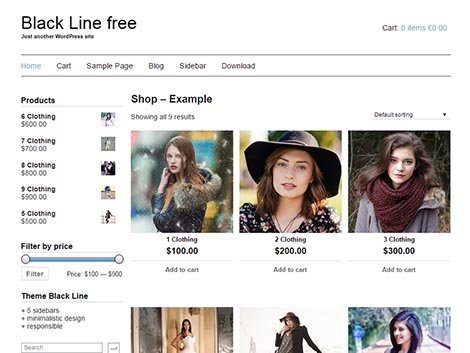 Black line responsive wordpress theme