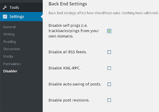 disable pingbacks wordpress