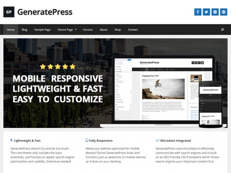 generatepress responsive wordpress themes free