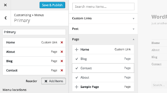 menu customizer wordpress new