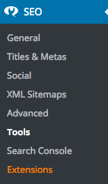 menu tools yoast