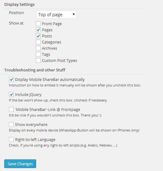 mobile sharebar settings