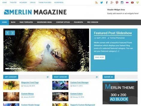 Merlin theme wordpress magazine free