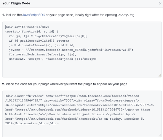 Facebook wordpress video embed code