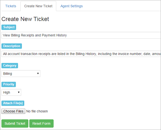 create new ticket