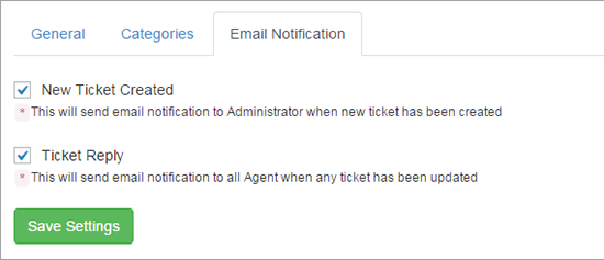 email notifications ticket