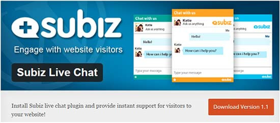 plugin subiz live chat wordpress