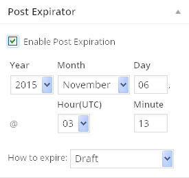 post expirator settings