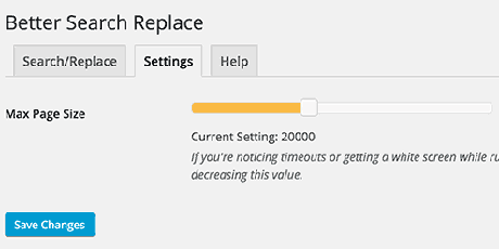 search and replace settings