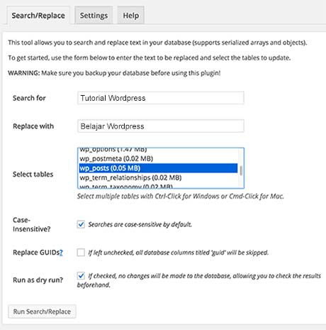search and replace wordpress