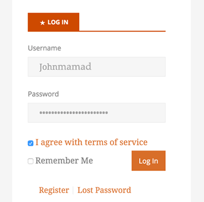 login wordpress term of services