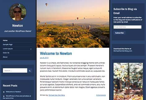 theme wordpress newton photoblogging