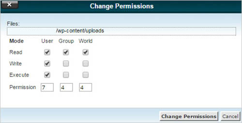 change permissions upload