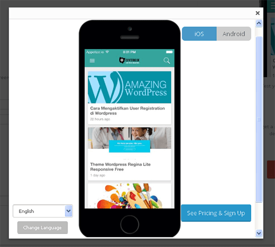 preview mobiloud wordpress centerklik