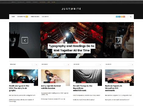 theme wordpress justwrite responsive free