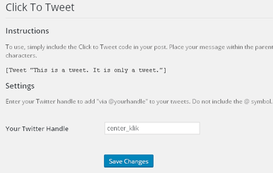click to tweet settings