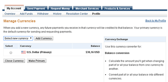 add currencies paypal
