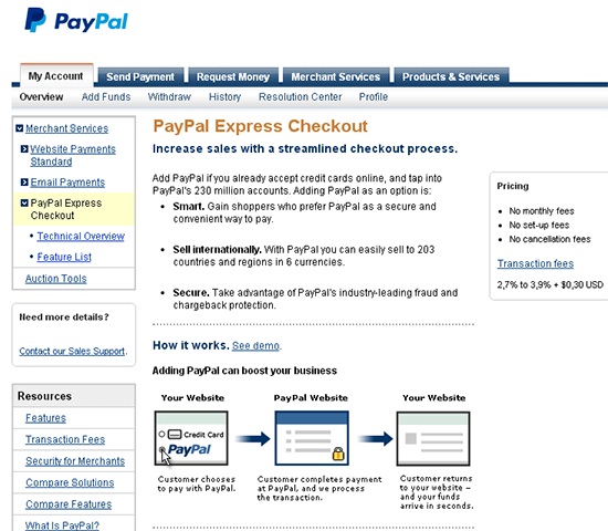 paypal express payment
