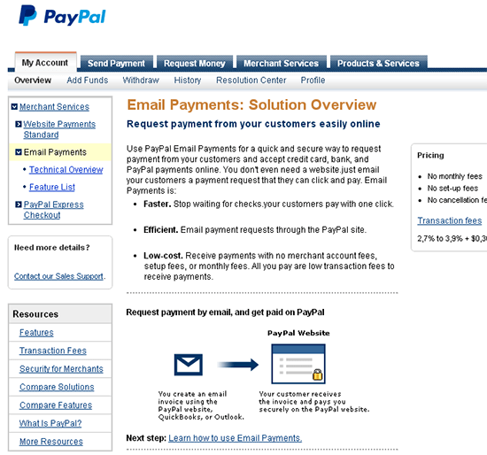 paypal send email payment