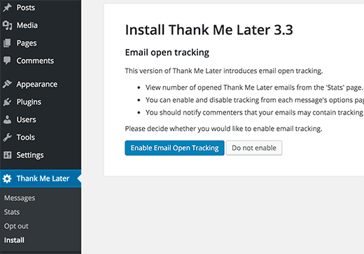 thank me later email setup