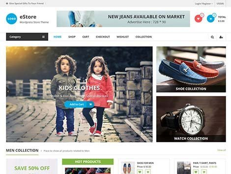 tema wordpress estore woocommerce keren
