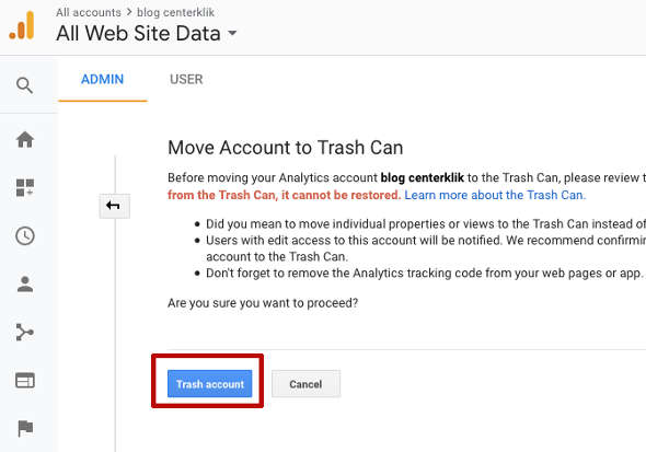 Hapus google Analytics 2