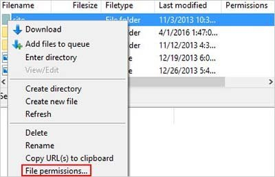 file permissions filezilla