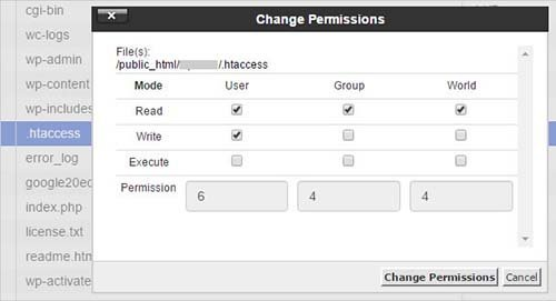 permission file cpanel