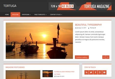 theme wordpress tortuga responsive free