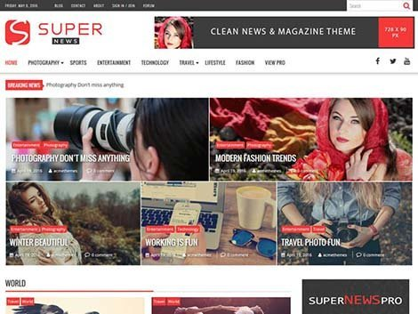 Theme WordPress SuperNews Free