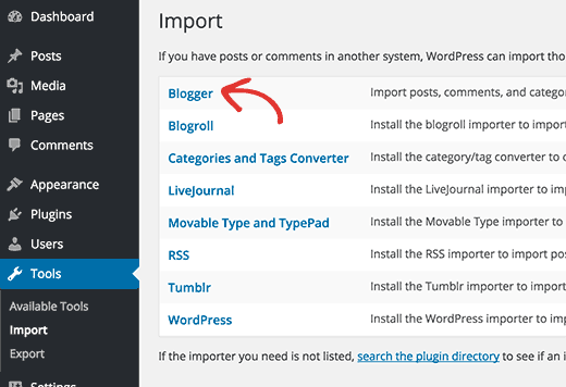 blogger import tool WordPress