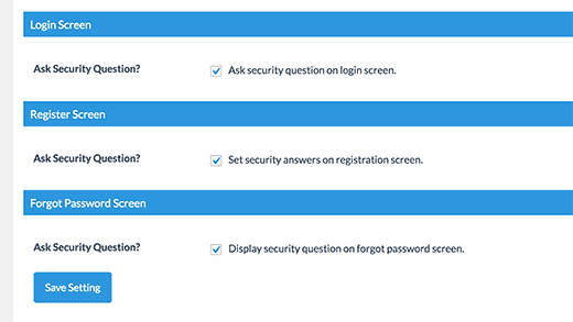 enable security questions