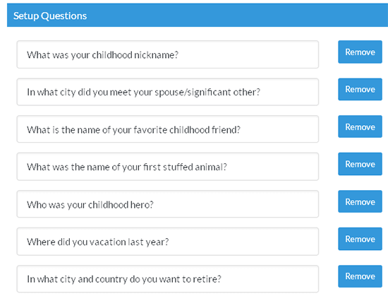 security question list
