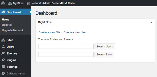 Dashboard WordPress Multisite