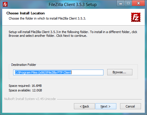 Location Install FileZilla