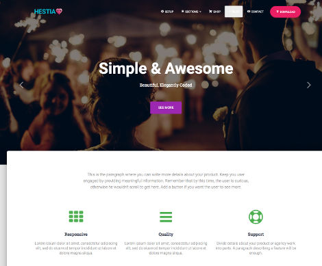 Hestia themes WordPress free
