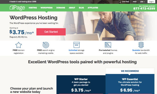 iPage WordPress Managed Hosting