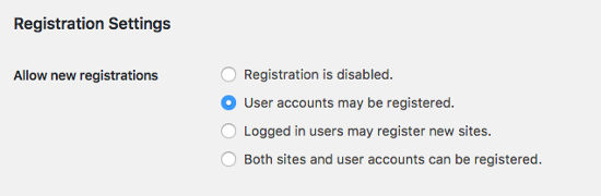 registrations settings