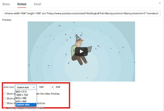 video customize size