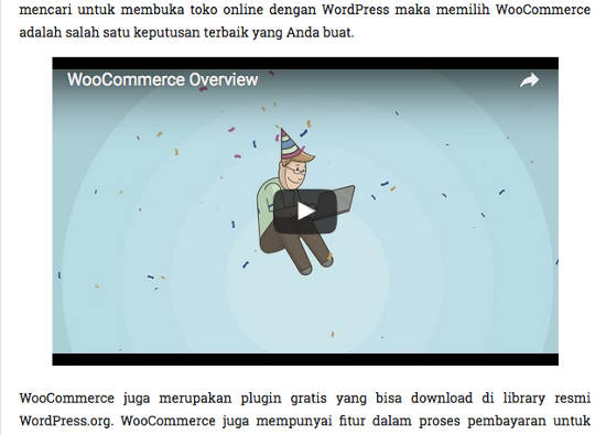 video youtube di posisi tengah WordPress
