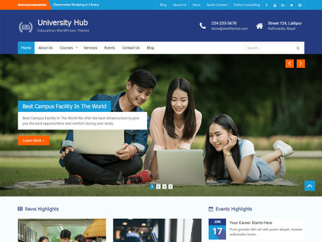 University hub theme wordpress