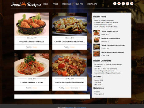 food recipes theme wordpress free