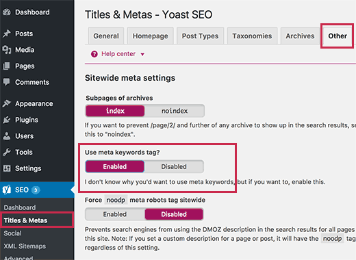 use meta keywords