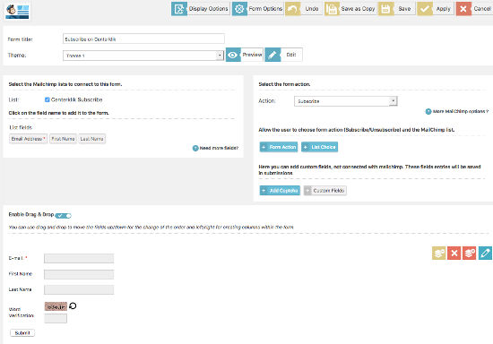 MailChimp Form WD Create Form