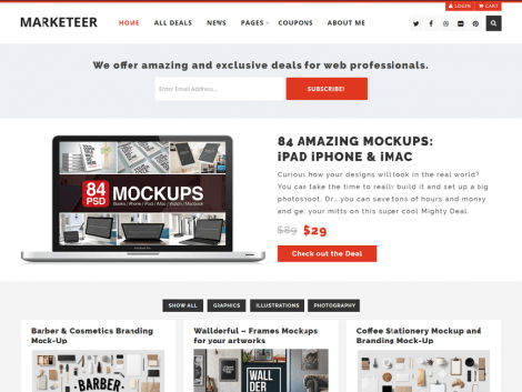 Theme WordPress Marketeer Responsive Free
