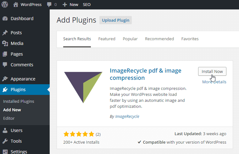 install plugin ImageRecycle