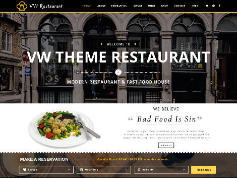 Theme WordPress VW Restaurant Lite
