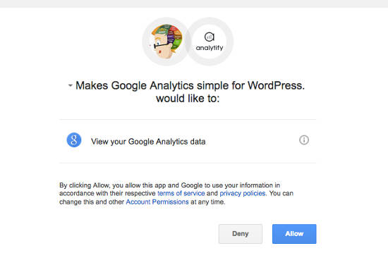 Google Analytics Allow Account