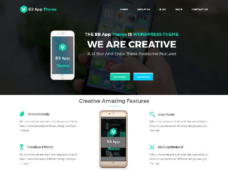 Theme WordPress BB Mobile Application Free